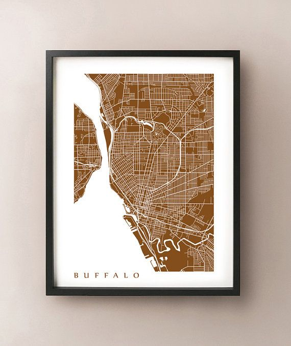 Buffalo Map Print  New York Poster by CartoCreative on Etsy, $20.00