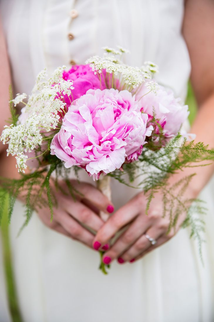 Pink Peony and Queen Anne's Lace Bridal Bouquets | Forest Lake Floral | Krista Esterling Photography https://www.theknot.com/marketplace/krista-esterling-photography-minneapolis-mn-519899