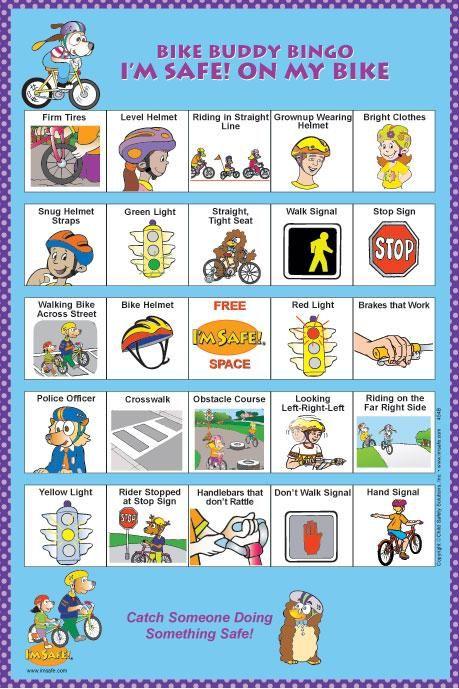 Bike Buddy Bingo Bingo for kids, Safety rules at school