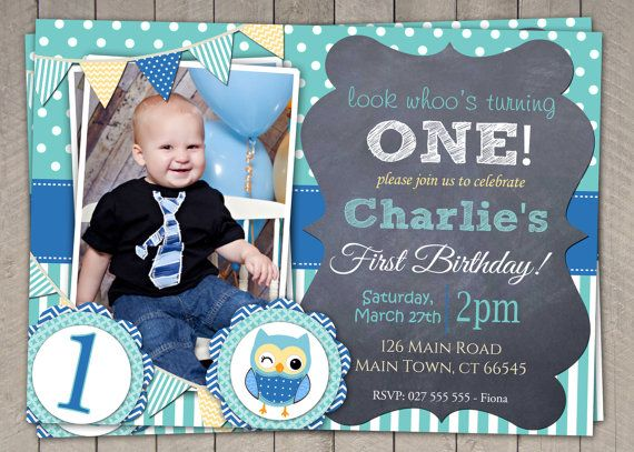 boys blue owl 1st birthday invitation by invitaitonsbylittlep