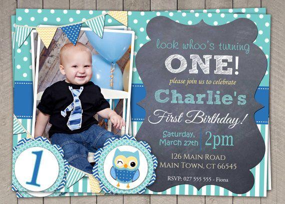 Boys Blue Owl 1st Birthday Invitation / by InvitaitonsByLittleP, $10.00