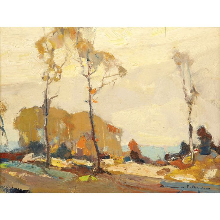 """""""Trees in a Landscape with Water Beyond,"""" Chauncey Foster Ryder, oil on canvasboard 15 7/8 x 11 7/8"""", private collection."""