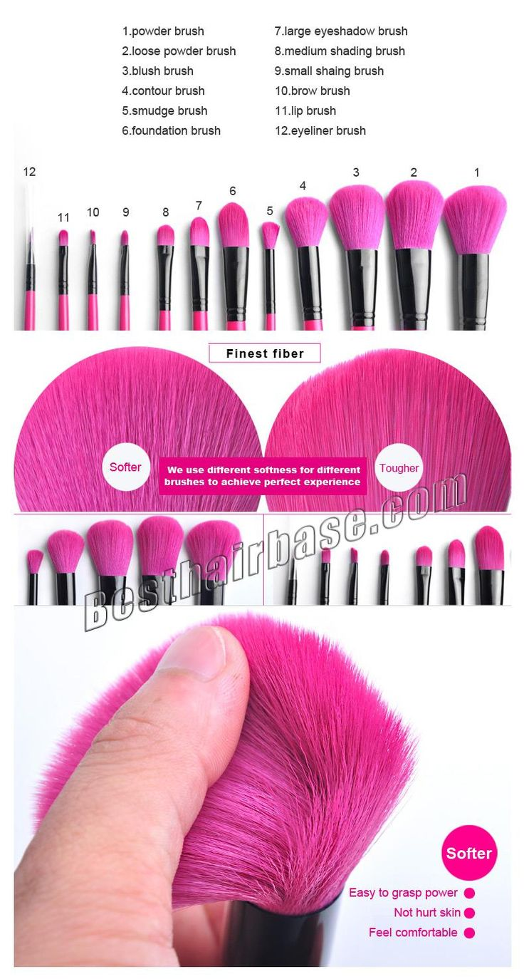 12 Pcs Rose Red Professional Artificial Fibre Brush Set #brushes
