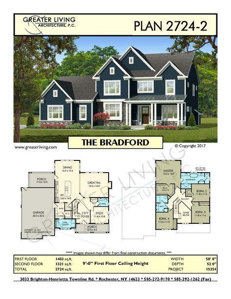 Plan 2724-2: THE BRADFORD- Two Story House Plan - Greater Living Architecture - Residential Architecture