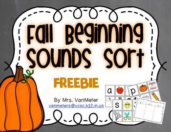 Fall Beginning Sounds Sort