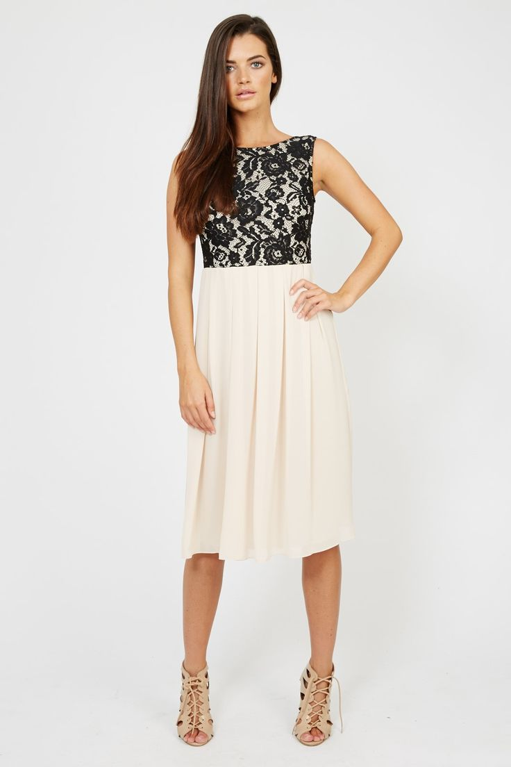 TFNC Party Dress<br /> <br /> - Contrast lace detail top<br /> - Midi length <br /> - Zip on reverse <br /> - Pleated floaty skirt <br /> <br /> <br /> Material:  100% Polyester. Hand wash cold.