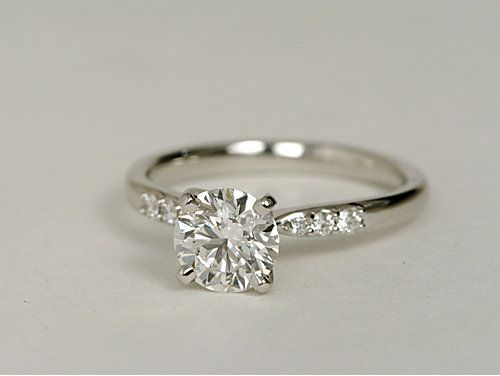 Blue Nile Petite Diamond Engagement Ring in Platinum #wedding #engagement #ring this is so pretty