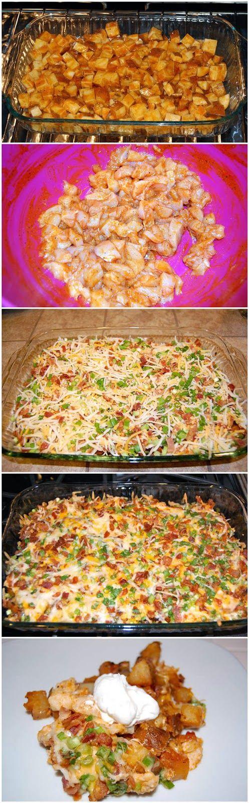 Loaded Baked Potato & Chicken Casserole - RedStarRecipe