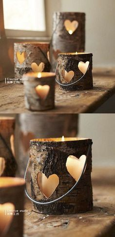Love the hollowed out pieces of log for candle holders! This would