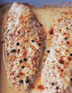 Ina Garten- Mustard-Roasted Fish  *katy recommends. Substitute creme fraiche with low fat sour cream. Any white fish will work