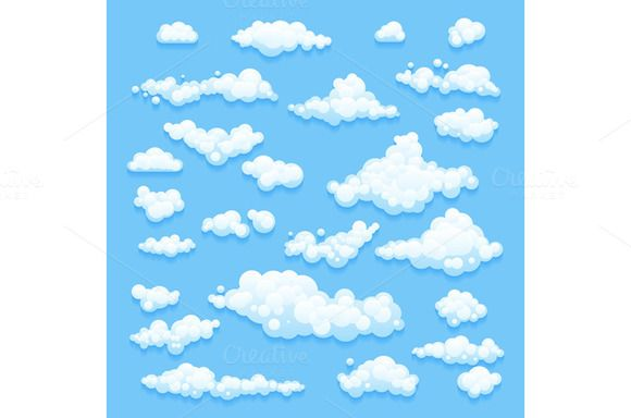 Set of Clouds on blue sky. Vector  by Rommeo79 on @creativemarket