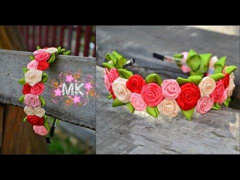 Обруч з маленькими крученими трояндами з атласної стрічки.D.I.Y. Rose of...