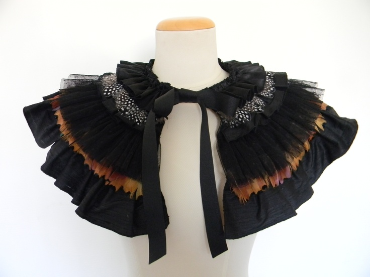 Feather frill Cape, feather cape, feather collar