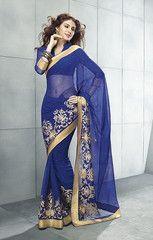 #Royal #blue color #wrinkle #chiffon material casual #saree #sari