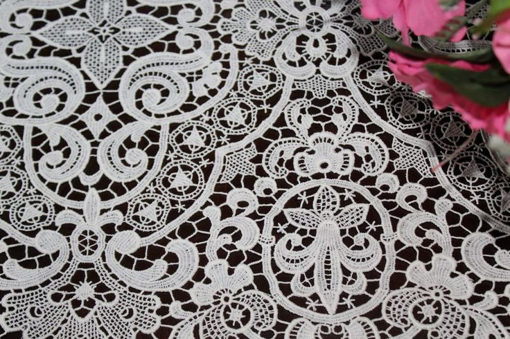Vtg Antique WHITE Schiffli Guipure Lace Extra Long Table Runner Scarf 67""