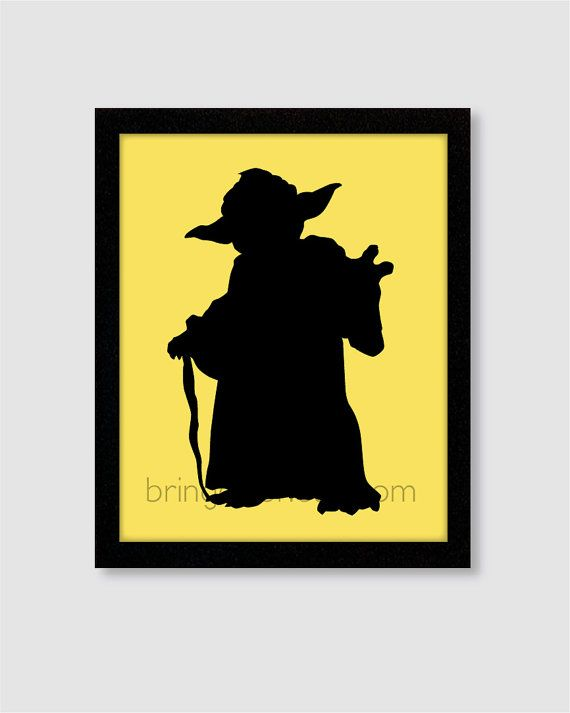 Star Wars Yoda Silhouette Wall Art Print 8X10 for boys room on Etsy, $14.00