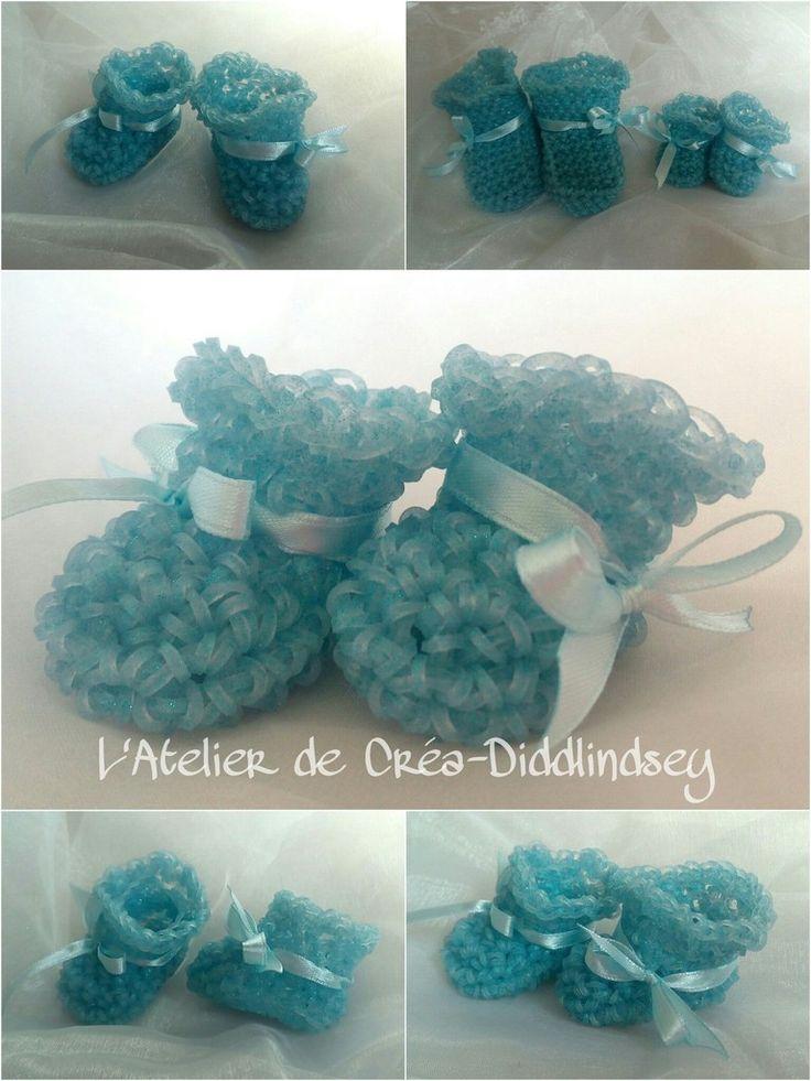Jolis petits chaussons miniature crocheté en élastique Rainbow loom