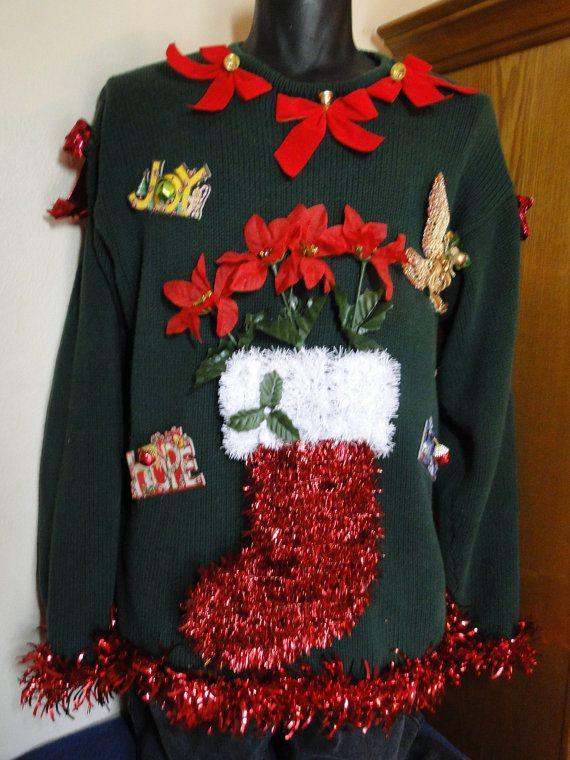 Cheap Ugly Homemade Christmas Sweater , Gaudy, Novelty, Holiday, Party, Xmas by EtsyAttic on Etsy. $34.99, via Etsy.
