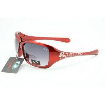 Knockoff Oakley Necessity Sunglasses polished red frames purple lens