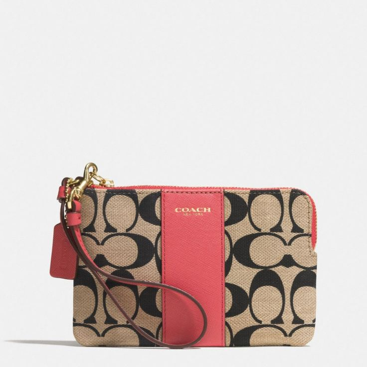 Coach :: LEGACY L-ZIP SMALL WRISTLET IN PRINTED SIGNATURE COATED CANVAS
