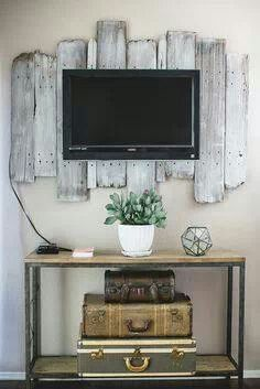 Love the tv backdrop from Barnwood!