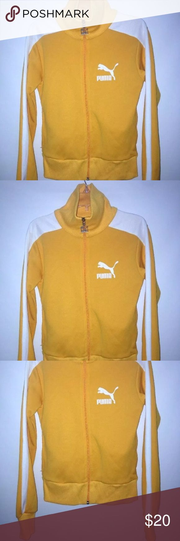 PUMA ZIP UP TRACK JACKET PUMA YELLOW ZIP UP TRACK JACKET  WOMEN SIZE XS  PIT TO PIT = 16''  ARMPIT TO END OF SLEEVE = 18''  LENGTH=22''  HAND POCKETS  EXCELLENT CONDITION, ONLY WORN A FEW TIMES  SEE PICTURES FOR DETAILS Puma Jackets & Coats