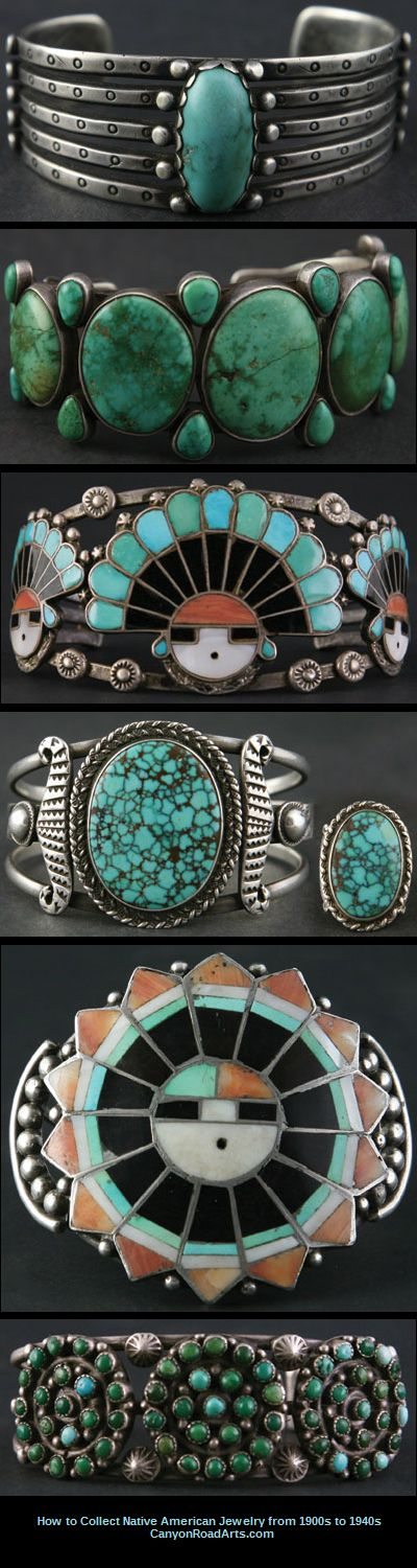 Vintage 1900 - 1970 Native American Turquoise Cuff Bracelets