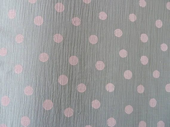 Double Gauze Fabric, 100% Cotton for Spring/Summer, Pink Polka Dots on Grey, For Dressmaking, Babies and Nursery Accessories Quilting
