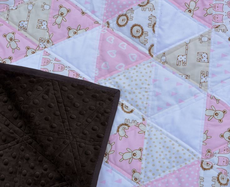 Modern Baby Quilt, Baby Girl Quilt, Triangle Baby Quilt, Baby Quilt for Sale, Baby Blanket, Handmade Quilt for Sale