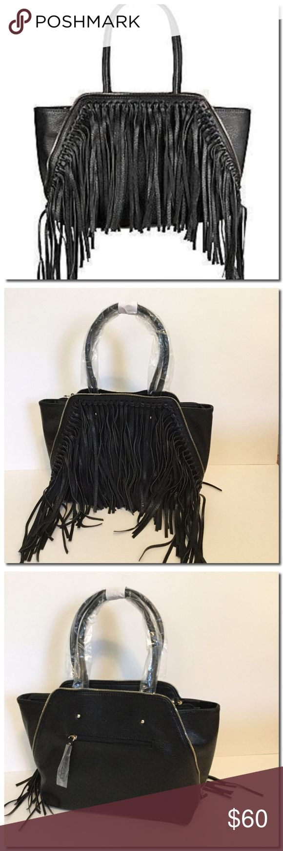 """🎒FL🅰️SH S🅰️LE 🎒 Fringed Faux Leather Tote Fringed Faux Leather Tote-Roomy faux leather tote with boho-chic fringe Double top handles, 8"""" drop Top zip closure Front fringe and zip detail Back zip pocket Two inside open pockets One inside zip pocket Fabric lining 18""""W X 12""""H X 5.5""""D Faux leather Imported Bags Totes"""