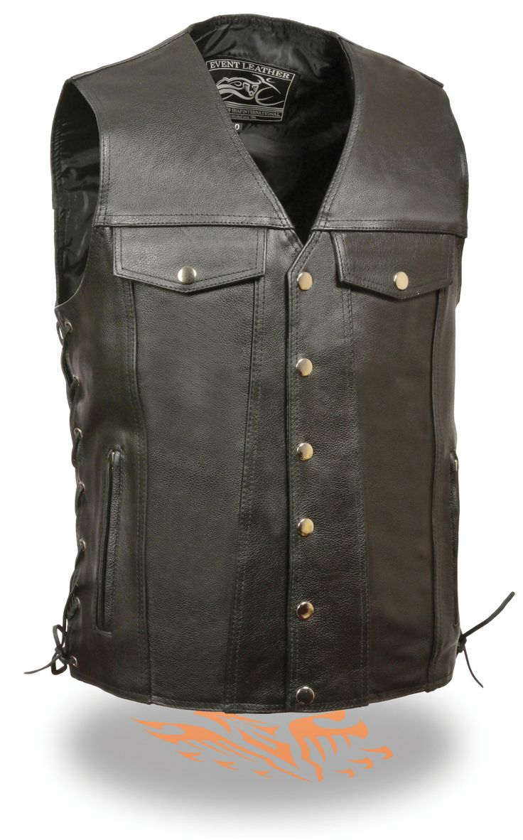 - Promotional Grade Leather - Classic Snap Front Vest - Two Lower Front Zippered Hand Warmer Pockets - Two Denim Pocket Styles Chest Pockets - Two inside gun pockets - Side Lace Detailing for Optimal