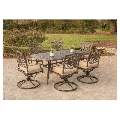 """Traditions 7 Pc Dining Set With Six Swivel Dining Chairs And A Large 72"""" X 38"""" Dining Table - Tan - Hanover"""