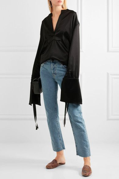 Newbark corduroy slippers / loafer mules + Georgia Alice bell sleeve satin blouse + current/elliott high rise straight leg cropped jeans