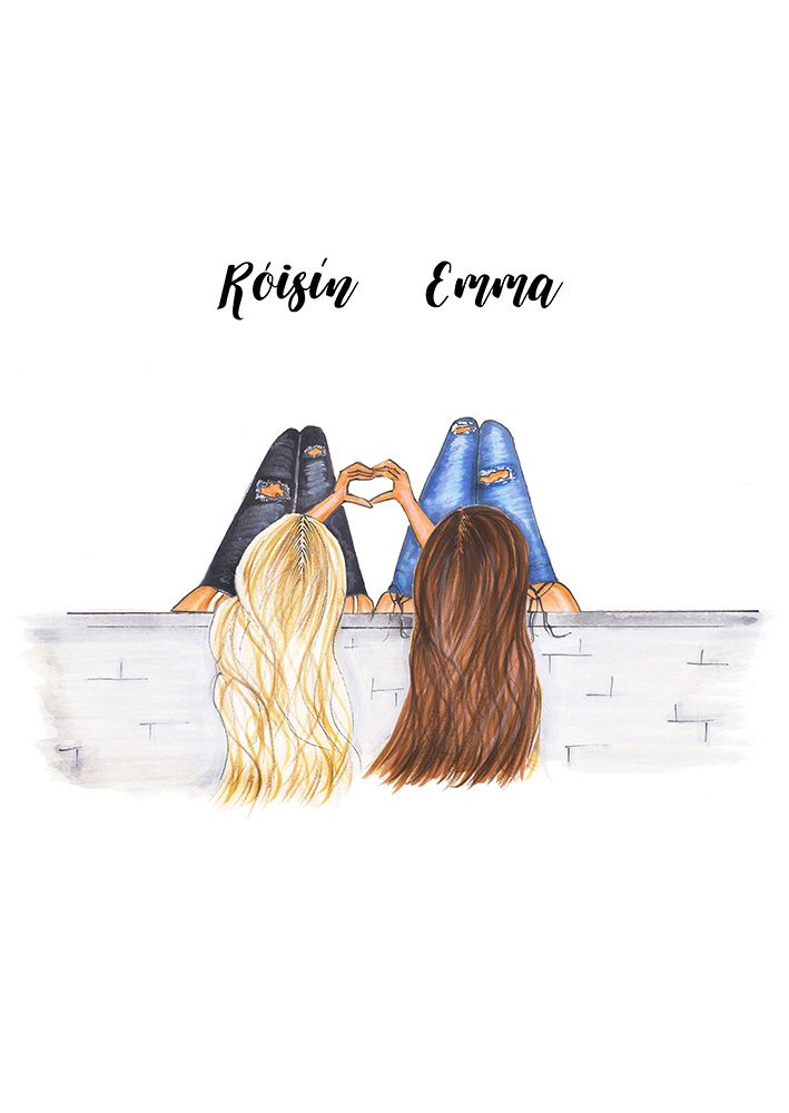 Personalized Best Friends Fashion Illustration Print Add Names Gift For Sister Bff College Room Mate Friends With Heart Hands Art Friends Illustration Bff Drawings Best Friend Sketches