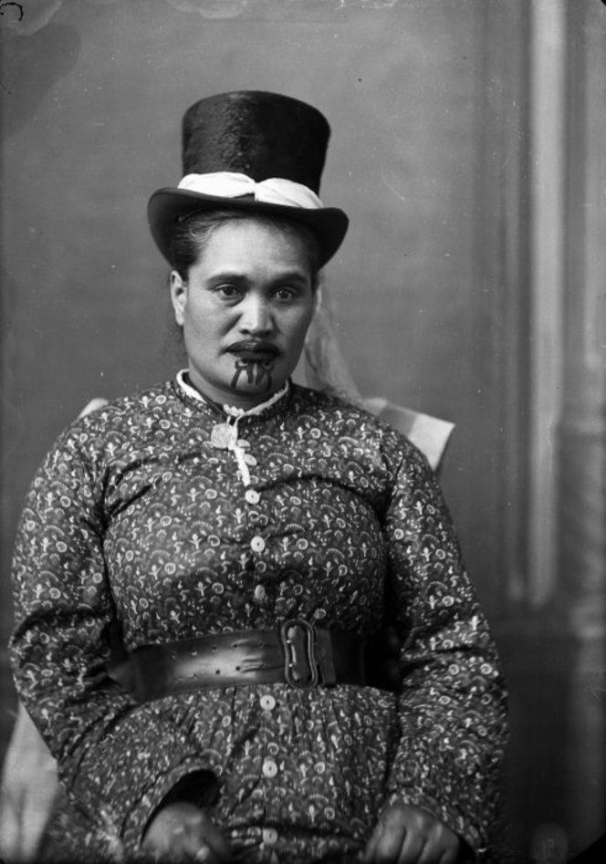 Maori woman with a moko and Top Hat. Photo taken by Samuel Carnell of Napier, 1883