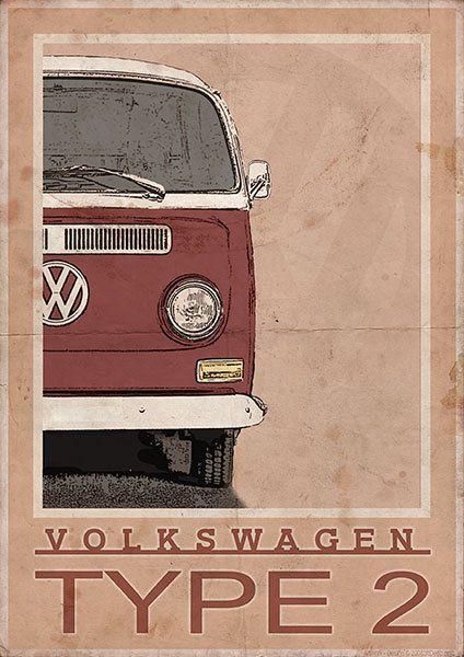 Volkswagen Type 2 Bay Window Van / Bus - Vintage Style Poster