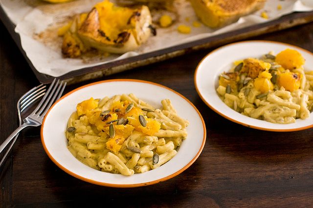 ROASTED BUTTERNUT ALFREDO SAUCE  1/2 c cashews, soaked for at least 2 hours  1 1/2 c vegetable broth  1 1/2 c roasted butternut squash  2 tbsp mellow white miso  2 tbsp nutritional yeast (option)  1 tbsp fresh lemon juice  FOR REST  1 tbsp olive oil  1 medium yellow onion  3 cloves garlic  1 tsp dry rubbed sage  3/4 c dry white wine  Several dashes fresh black pepper  1/2 tsp salt or to taste  GARNISH  Extra roasted squash  Pepitas, or chopped pecans, walnuts or hazelnuts