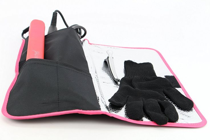 Heat-resistant /Heat Shield/Flattening Irons/ Curling Iron Cover/Flat Iron Travel Pouch/Hair Straighteners Case with Velcro /Heat-resistant Glove and Clip(Pink) >>> Want to know more, visit the site now : Travel Hair care