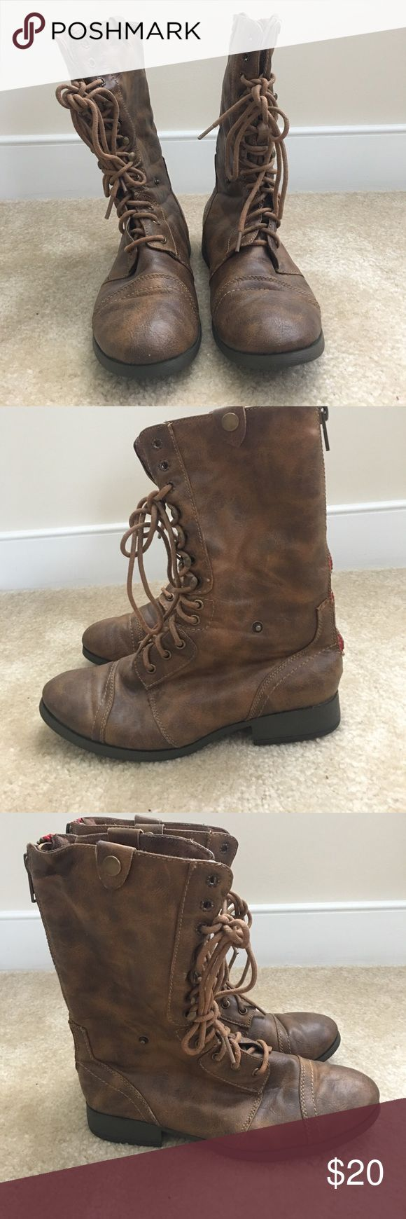 Women's combat boots. Size 7. Awesome condition!! Women's combat boots. Barely worn. They had a cool distressed look when I bought them. They also have the option to be worn zipped up or folded down!! When folded down it has a sweater type material. American Eagle Outfitters Shoes Combat & Moto Boots