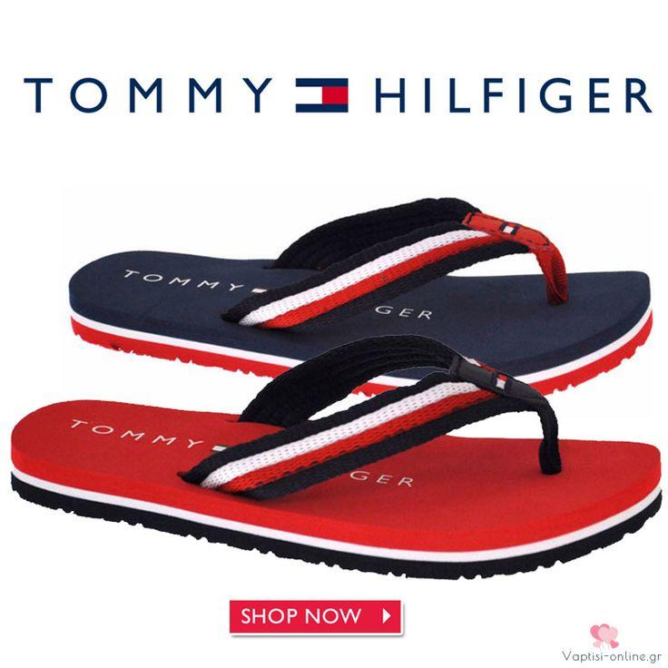 Σαγιονάρες μπλε Tommy Hilfiger Οι Σαγιονάρες μπλε Tommy Hilfiger είναι οι μοδάτες σαγιονάρες για το καλοκαίρι. Κόκκινο χρώμα με υφασμάτινο κορδόνι και αντιολισθητικό πάτο.