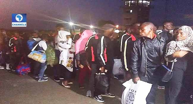 164 Nigerians Return From Libya   This is the third set of Nigerians returning from the North African country following the arrival of 144 and 257 persons on Tuesdayand Wednesday respectively.  The returnees were received at the Cargo Wing of the Murtala Muhammad International Airport Lagos by the Southwest Zonal Coordinator of the National Emergency Management Agency (NEMA) Mr Suleiman Yakubu.  They comprise 155 male adults 2 male children 5 female adults 1 female child and a female infant…