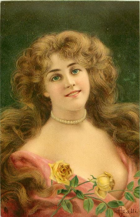 woman with pearl necklace, brown hair, pinkish dress, two yellow roses lower center, facing partly right, looking front