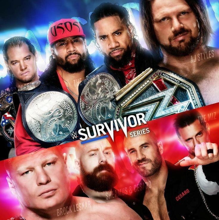 Survivor Series Baron Corbin Jimmy & Jey uso, AJ Style vs Brock Lesnar, The Bar & Miz