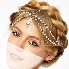 Gold Flapper Pearl Bead Crown Tikka Chain Head Hair Dress Piece Band Bridal Top