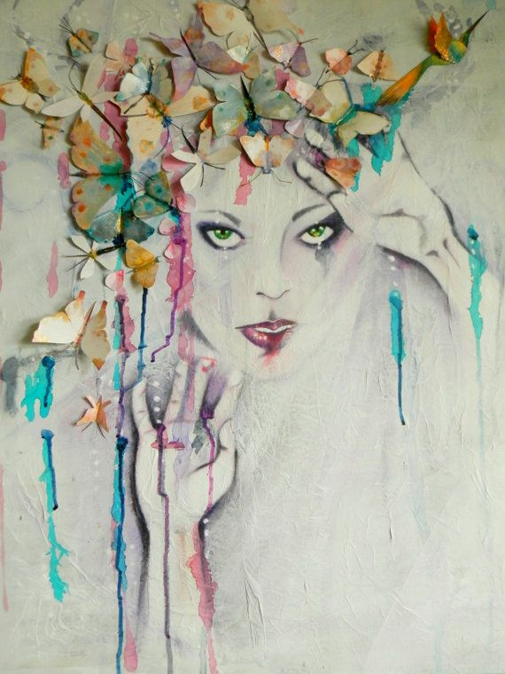 SPECTACULAR Original Acrylic & Mixed Media Painting Canvas Pastel Colours Dramatic Womans Face Wings 3D Butterflies birds. Colorful Wall Art on Etsy, $596.37