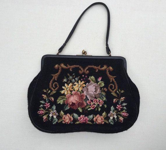 Vintage Needlepoint Purse / Vintage Over Shoulder Black Purse / Flowers Needlepoint Large Handbag