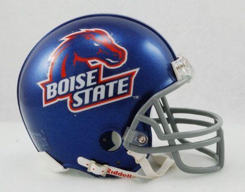 The helmet of the Boise State Broncos football team.