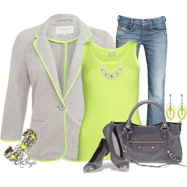 Casual in Gray and Neon Contest, created by kginger on Polyvore
