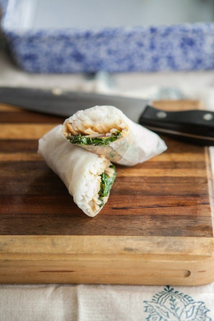 swiss chard and spicy peanut spring rolls