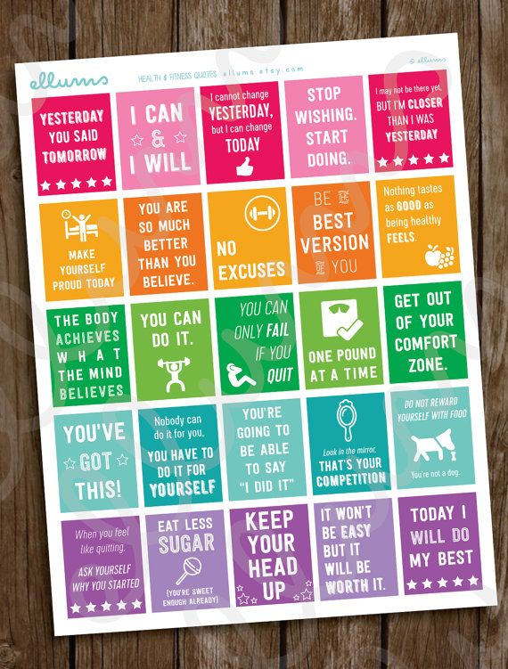 Fitness Planner Stickers PRINTABLE Workout Motivational von ellums